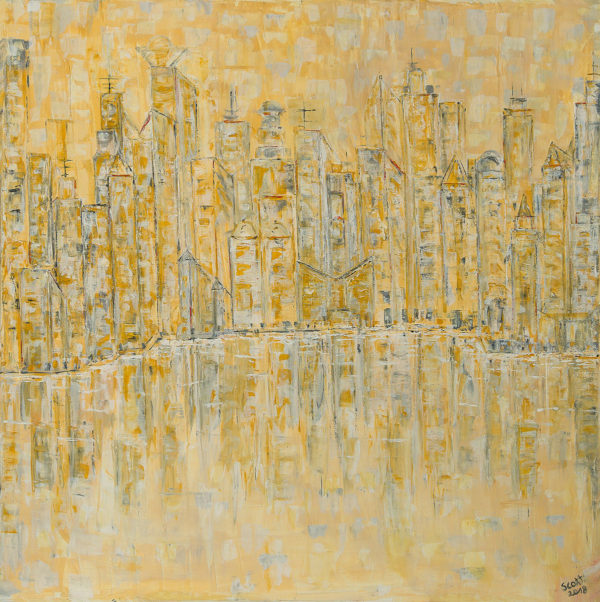 Skyline abstrakt gespachtelt
