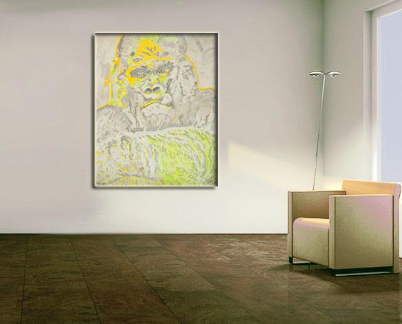 Affe Gemälde Acryl Bild Tier abstrakt